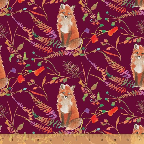 51919-2 Plum Curious Fox from Fox Wood by Betsy Olmsted Windham