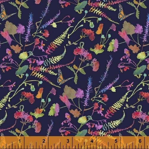 51921-6 Navy Garden from Fox Wood by Betsy Olmsted Windham