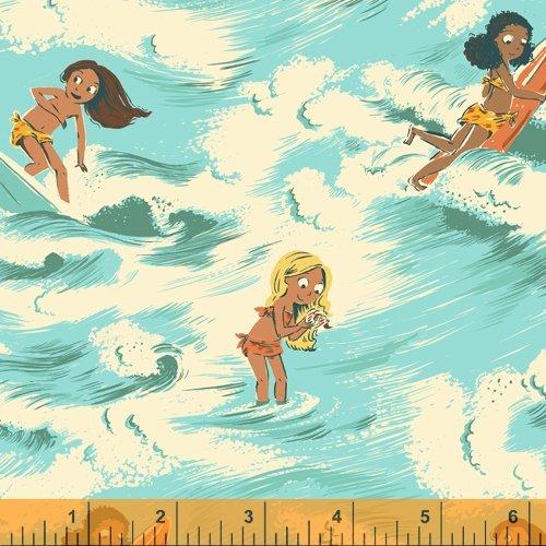 52145LC-2 Aquamarine LINEN CANVAS Malibu Heather Ross Windham Fabrics