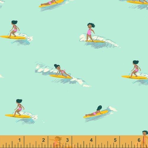 52146-6 Seafoam Tiny Surfers Malibu Heather Ross Windham Fabrics
