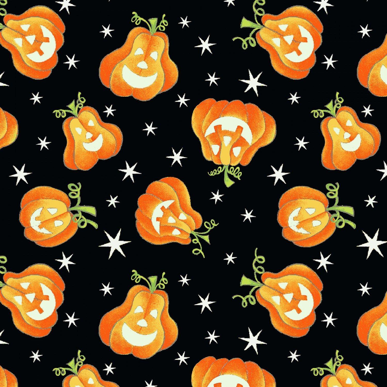 9540G-93 Black Tossed Pumpkins Here We GLOW IN THE DARK Delphine Cubitt Henry Glass & Co., Inc.