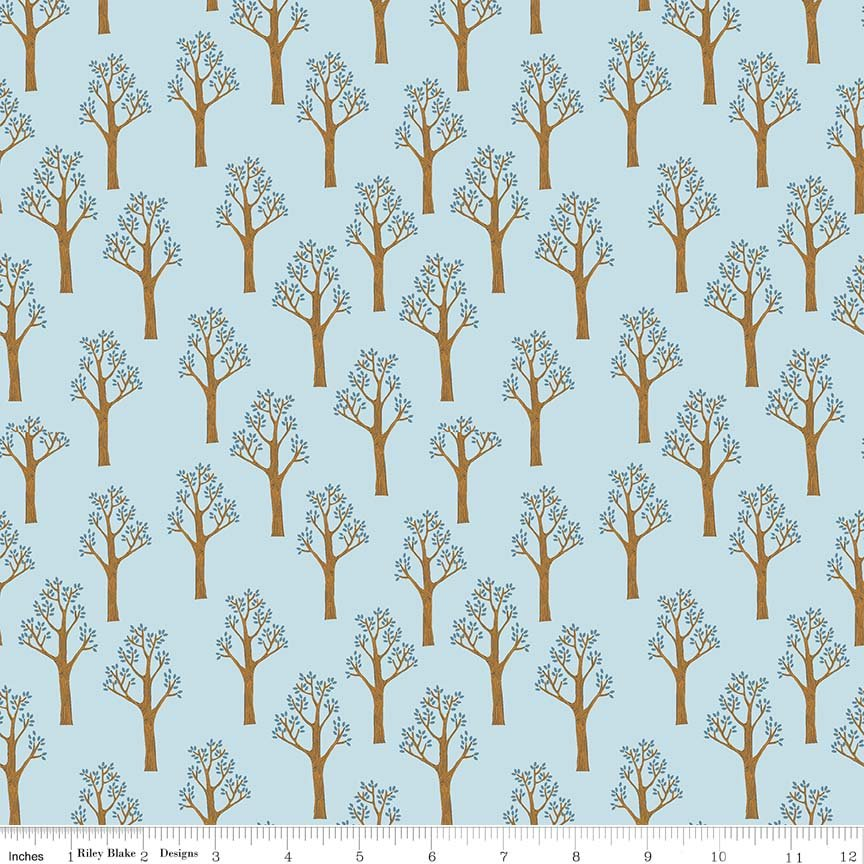 C7082-Blue Lancelot Trees Blue Riley Blake