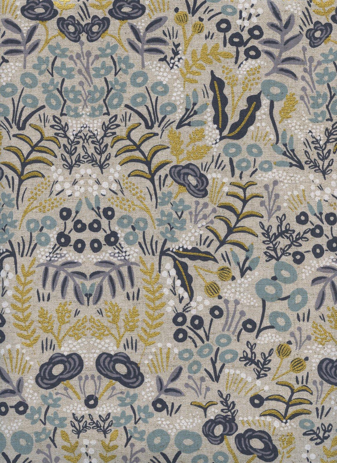 AB8040-12 Natural Gold Flowers Menagerie Linen/Cotton CANVAS Rifle Paper Co