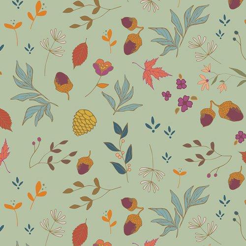 ATV-87209 Acorns & Pinecones Mint From Autumn Vibes by Mauren Cracknell Art Gallery