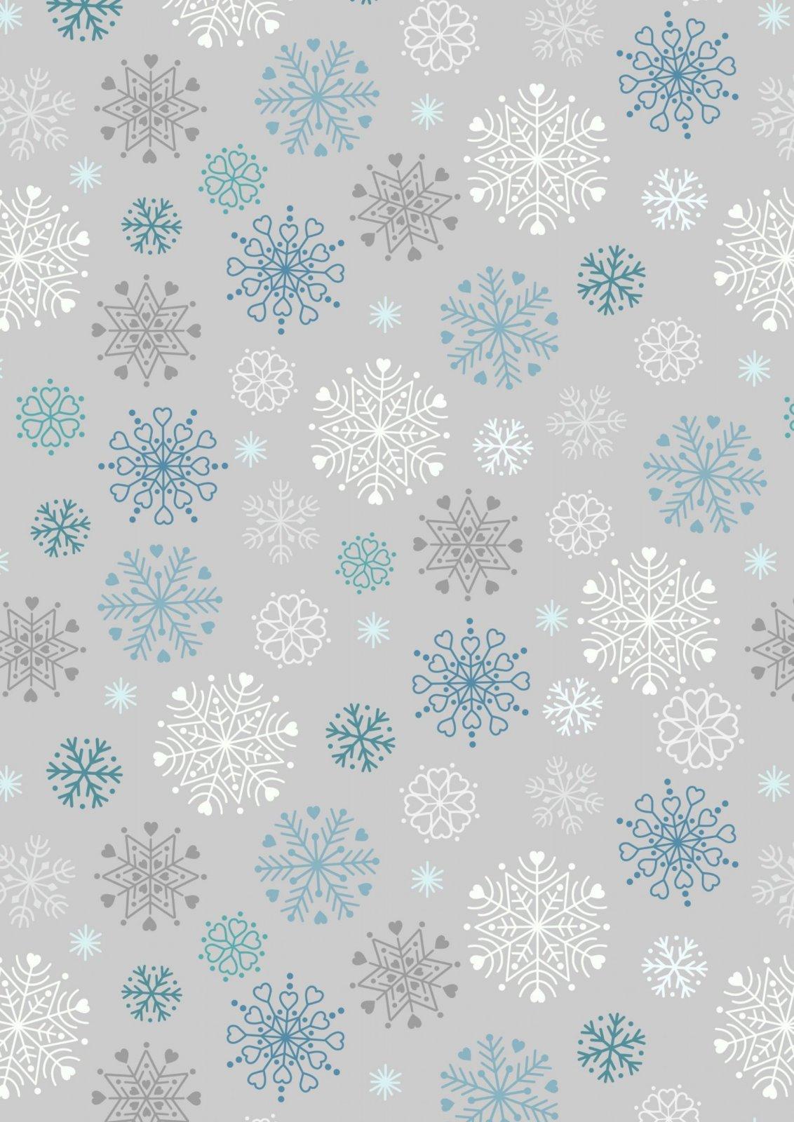 C72.1 Glow in the Dark Snowflakes on Silver Hygge Glow Lewis & Irene