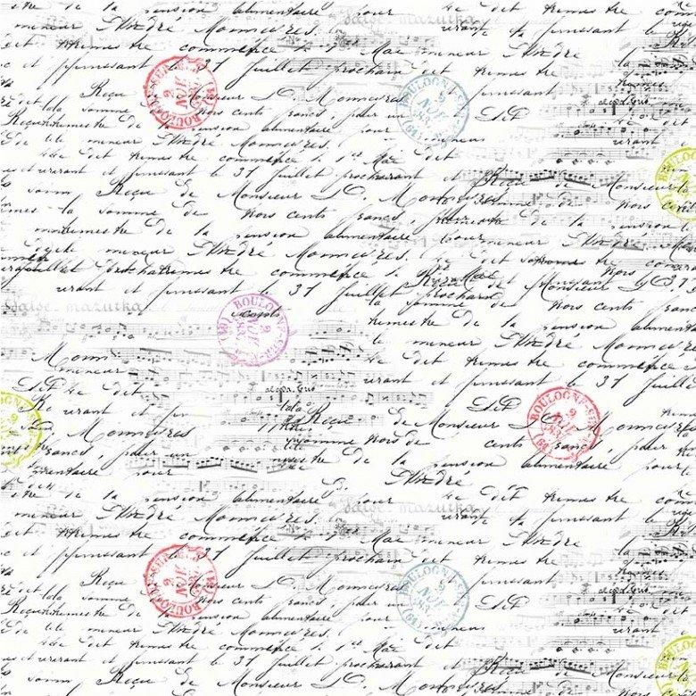 CX9223-WHIT-D White Travel Notes La Parisienne Michael Miller