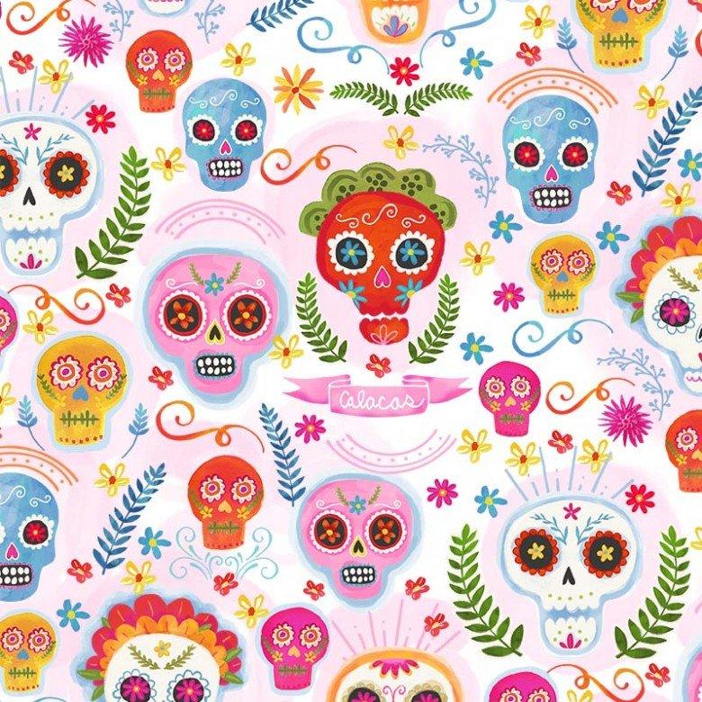 CX9423-BLUS-D Sugar Skulls La Vida Loca Michael Miller Fabrics