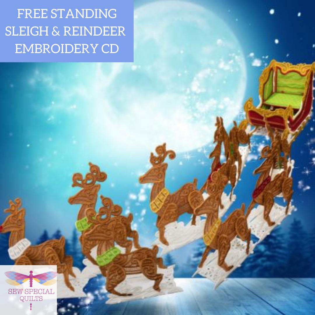 Freestanding Sleigh & Reindeer CD by OESD