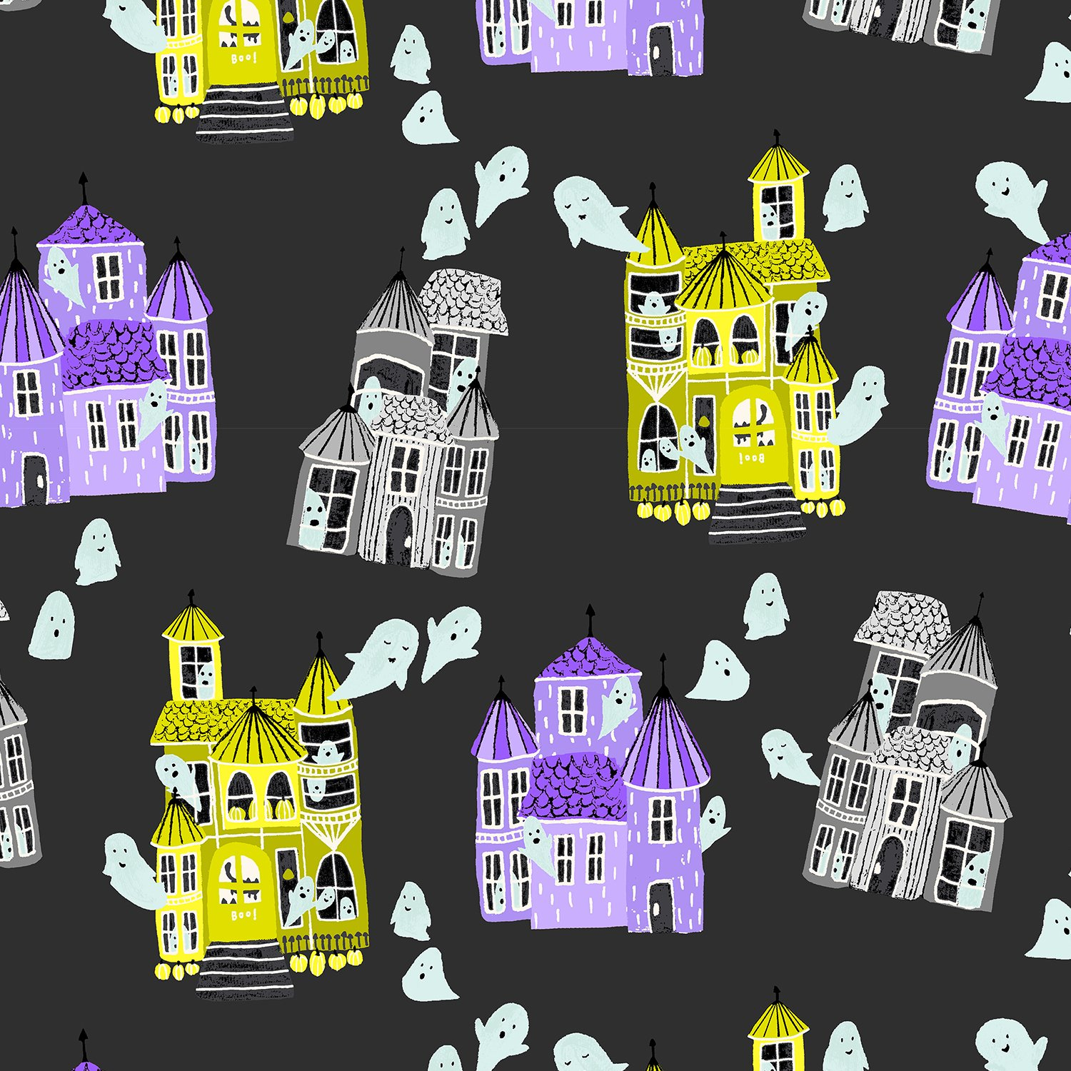 CC300-SB2 Spooky Black Ghost Hosts Bring Your Own Boos Callie & Co. Cotton & Steel