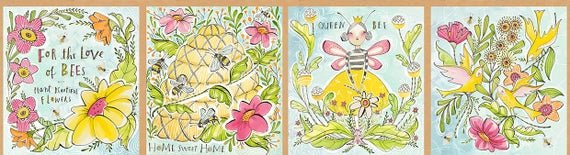 112.122.01.1 Honey Bee Panel 11.5 INCHES Multi Love of Bees by Cori Dantini Blend