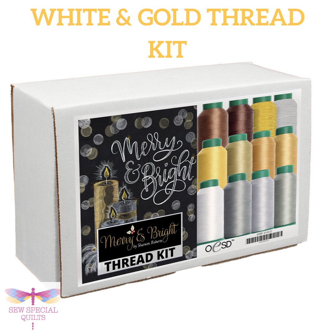 Merry & Bright White and Gold Thread Kit by OESD