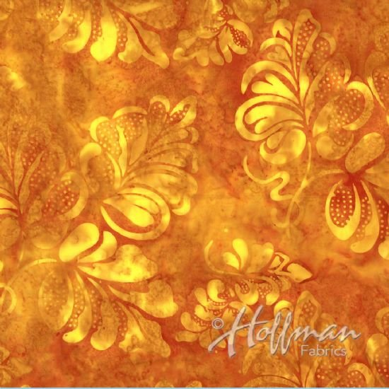 P2970 339 Orange Summer Gothic Leaf Bali BATIK