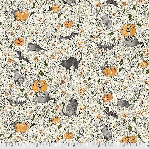 PWCD003.XGREY Grey In the Patch Spirit of Halloween Cori Dantini Freespirit Fabrics