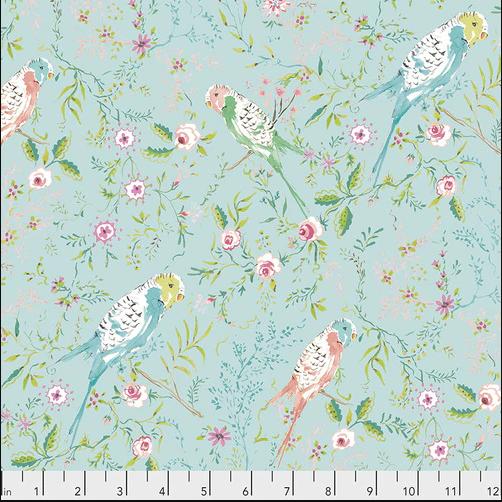PWDF309.AQUA Aqua Parakeet Park Adelaide Free Spirit Fabrics