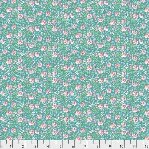 PWDF310.AQUA Aqua Canberra Rose Adelaide Free Spirit Fabrics