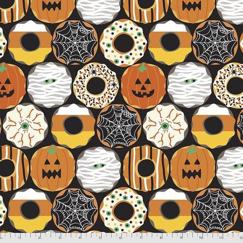 PWMA001.XBLACK Black Creepy Crullers Boolicious FreeSpirit Fabrics