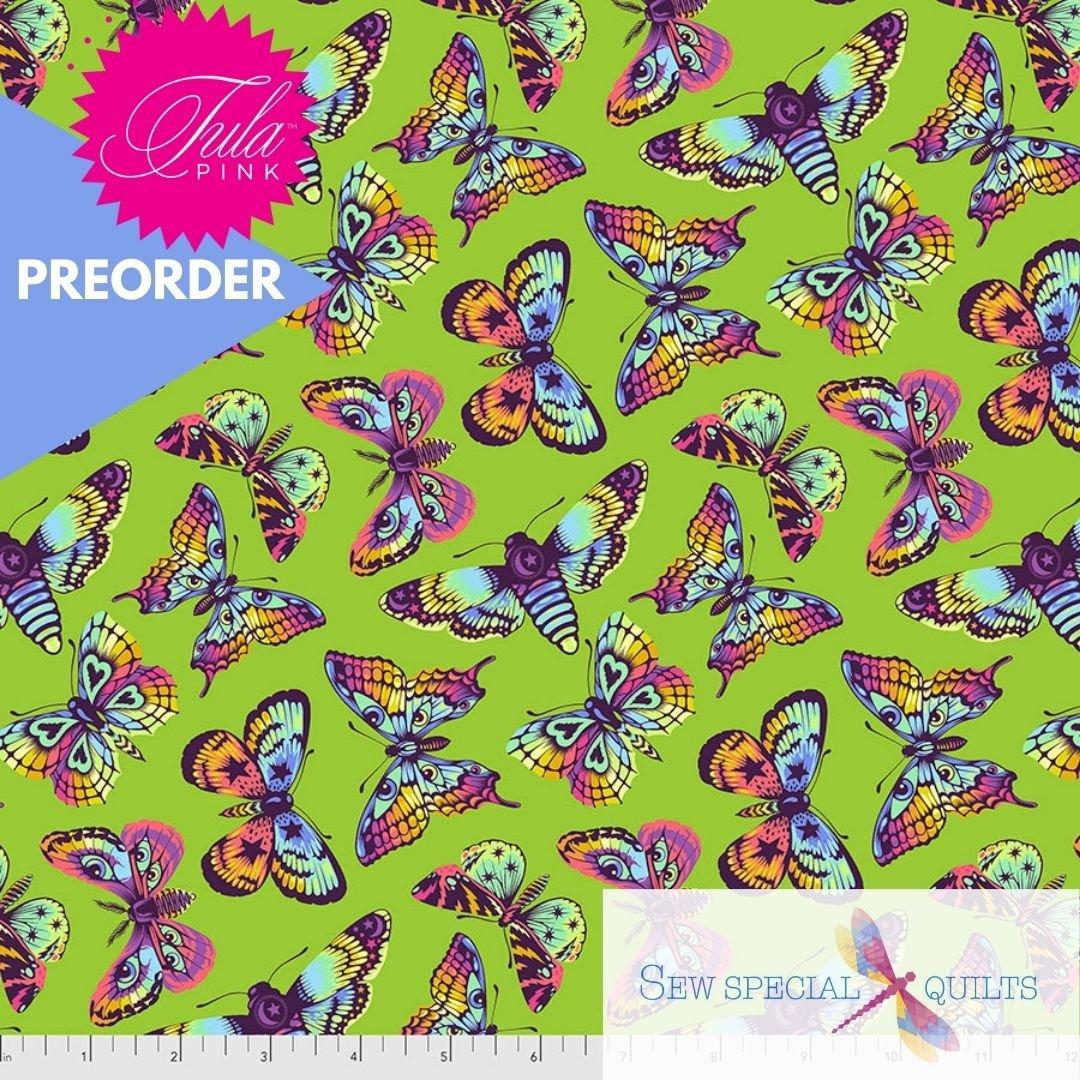 PWTP172.AVOCADO Butterfly Kisses Daydreamer Tula Pink FreeSpirit Fabrics