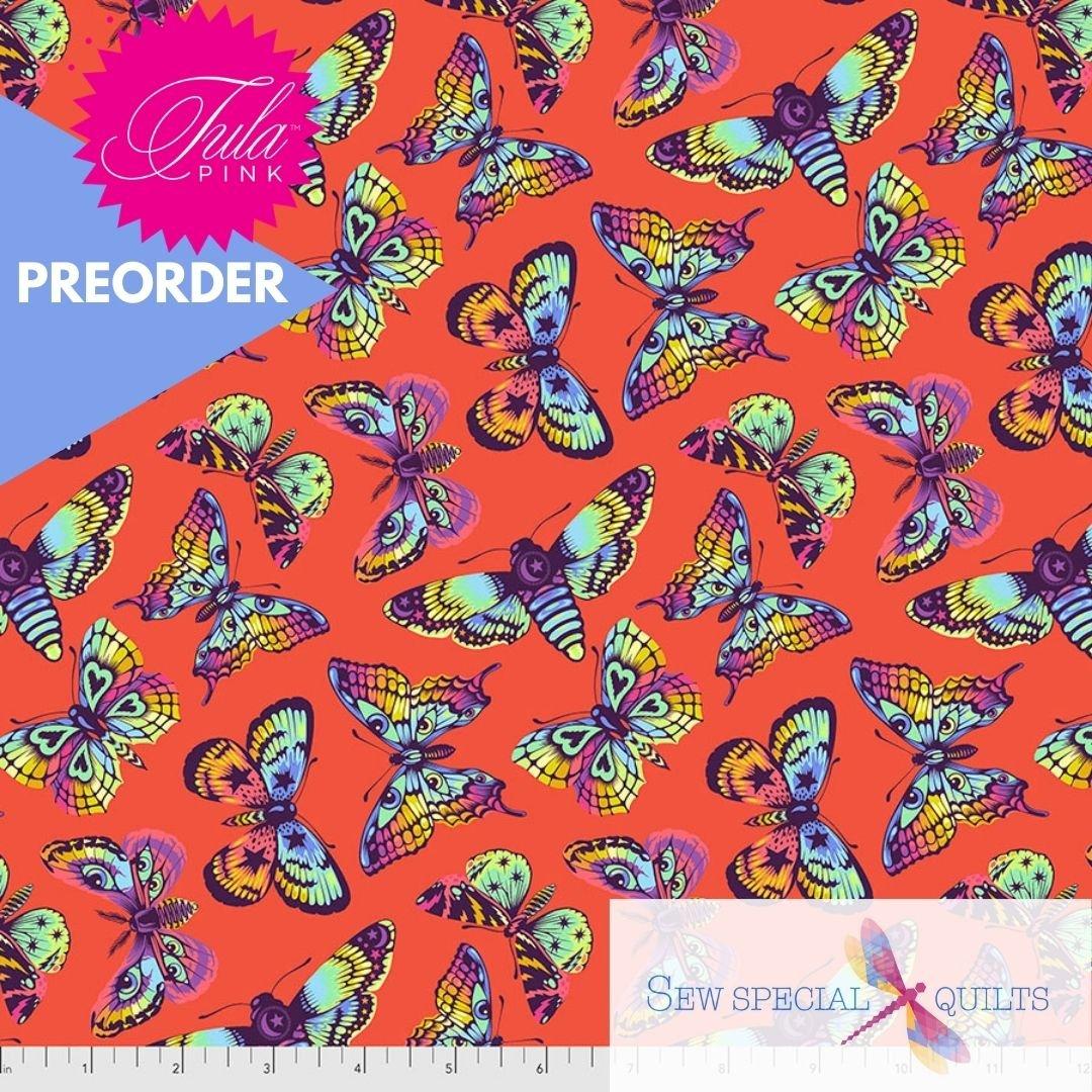 PWTP172.PAPAYA Butterfly Kisses Daydreamer Tula Pink FreeSpirit Fabrics