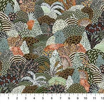 R90160 74 Green Multi RAYON Packed Trees After the Rain 54 Wide FIGO
