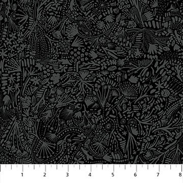 R90165 99 Black RAYON Plants After the Rain 54 Wide FIGO