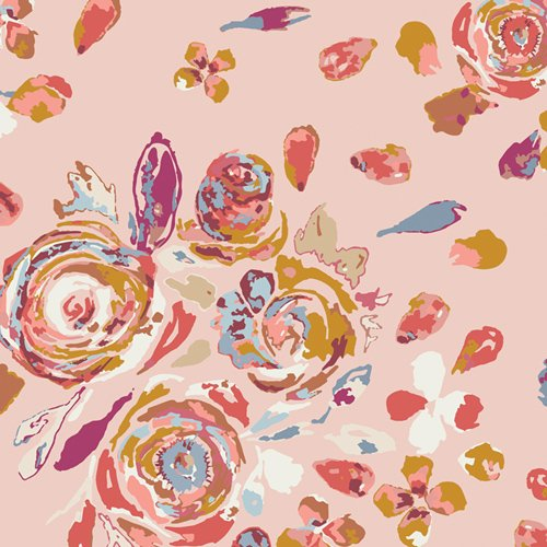 R-1900 Swifting Flora Roswood RAYON Fusion Rosewood by Maureen Cracknell Art Gallery Fabrics