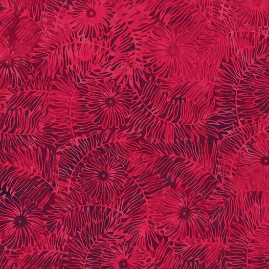 S2323-568 Red Velvet Floral Leaf Bali Batik Hoffman Fabrics