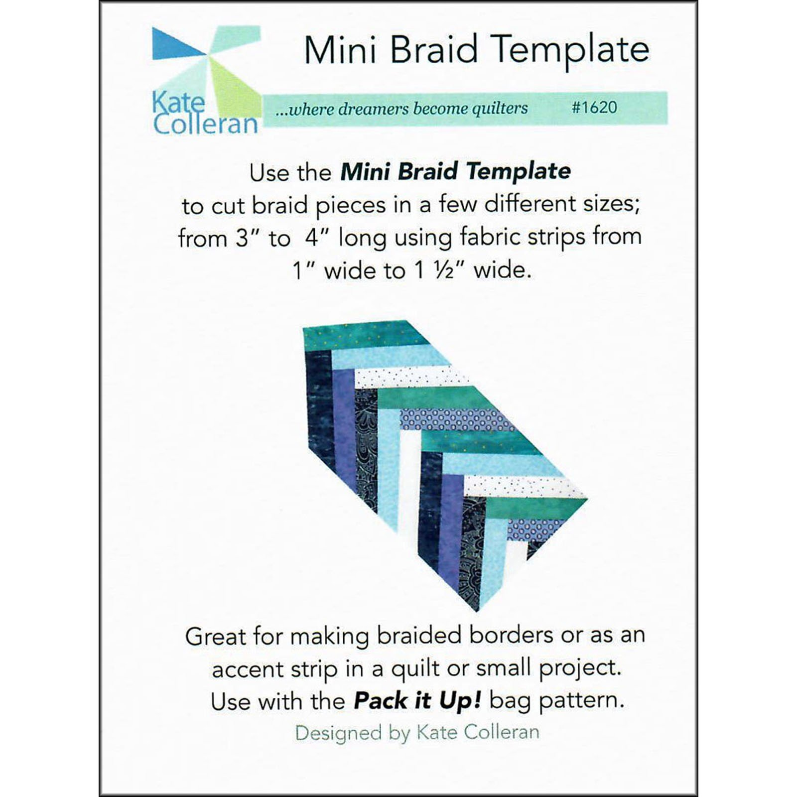 Mini Braid Template #1620 Kate Colleran Designs, LLC