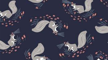 STELLA-SRR1524 Blueberry Squirrels Night Ride Dear Stella