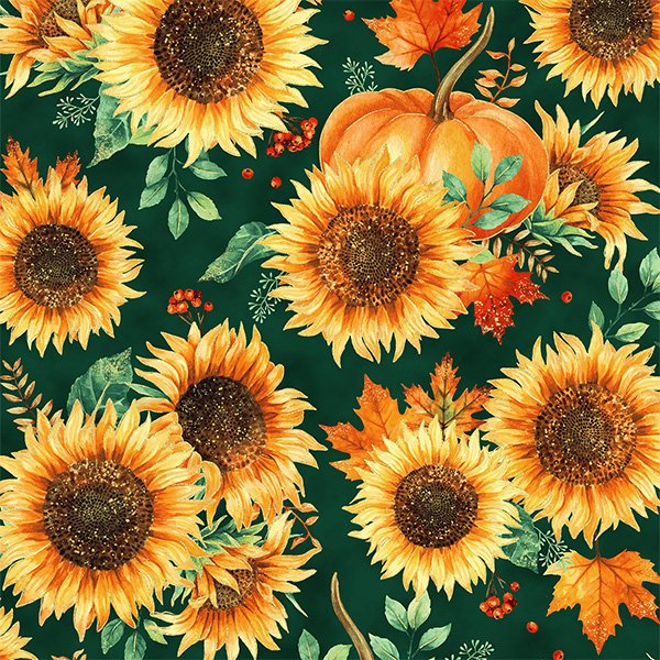 T4853-31G Emerald/Gold Autumn Is In The Air Hoffman Fabrics