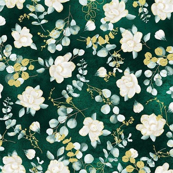 T7755-476G Juniper/Gold Home Sweet Home Hoffman Fabrics