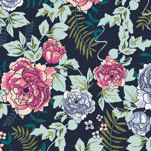 TRV-68120 Everblooming Camellias Trouvaille Art Gallery Fabrics