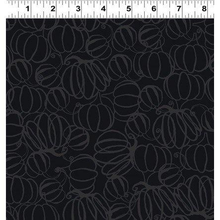 Y2968-6 Gray Pumpkin Drawings Midnight Glow by Sue Zipkin Clothworks