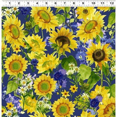 Y3027-92 Dark Royal Blue Mixed Floral Sunny Fields by Sue Zipkin Clothworks
