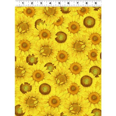 Y3028-9 Yellow Packed Sunflowers Sunny Fields by Sue Zipkin Clothworks