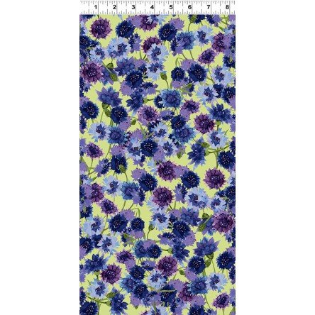 Y3030-55 Multi Bachelor Buttons Sunflowers Sunny Fields by Sue Zipkin Clothworks