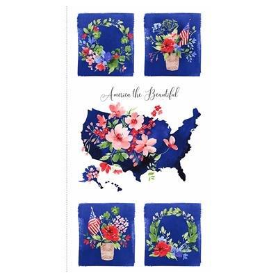 Y3221-55 Multi Color 24X44 Panel America the Beautiful Heatherlee Chan Clothworks