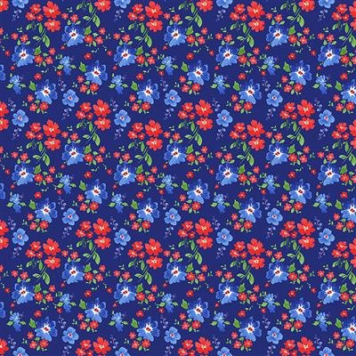 Y3224-93 Light Navy Small Floral America the Beautiful Heatherlee Chan Clothworks