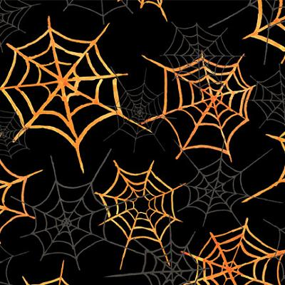 Cotton -  Monsters Spider Webs Black