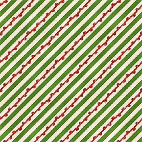 Cotton -  Candy Icing Stripe Ivory/Green