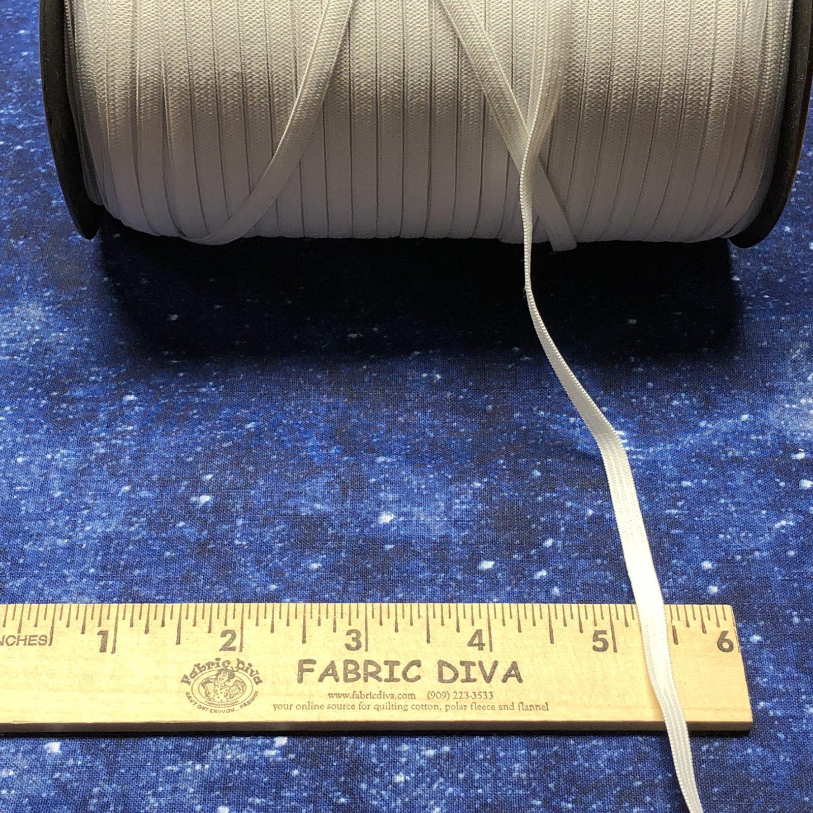 <B>2 yards (72) of ELASTIC 1/4 wide flat WHITE elastic LIMIT ONE 2 YARD CUT</B>