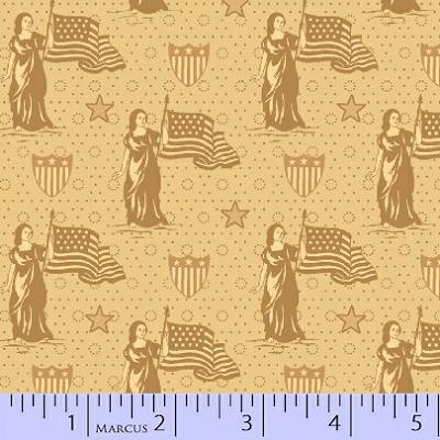 Cotton - Lady Liberty Beige Flags