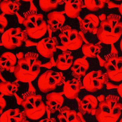 Cotton - Haunted Skulls Red