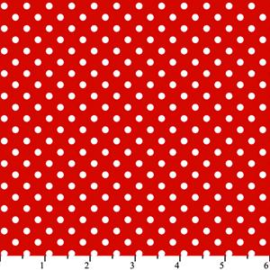 Cotton -Dots Red/White