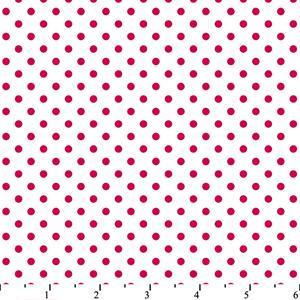 Cotton -Dots White/Fuchsia