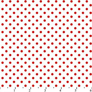 Cotton -Dots White/Red