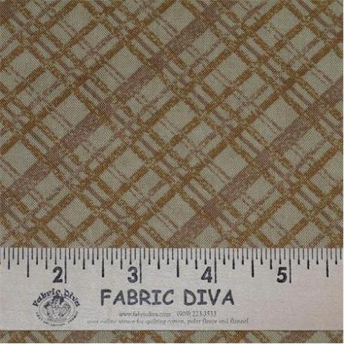 Cotton -  Diagonal Plaid Brown