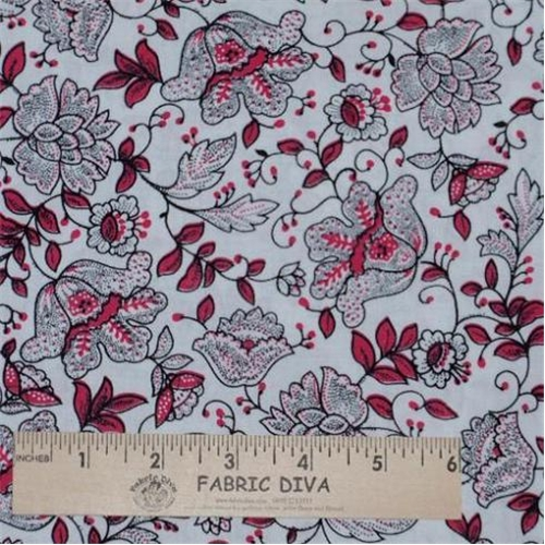 Cotton -  Floral Toile Pink