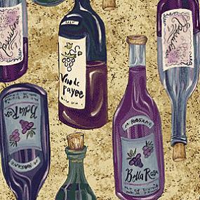 Cotton - Wine Whimsey Tan