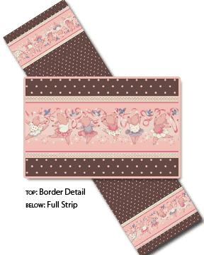 Cotton - Dancing border Chocolate Pink