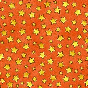 Cotton - Twinkle Stars Tangerine
